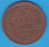 (M454) MONEDA UNGARIA - 5/10 KRAJCZAR 1882 - KB - MAI RARA, Europa