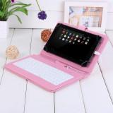 Husa Tableta 7 Inch Cu Tastatura Micro Usb Model X , Roz , Tip Mapa   C6, Universal