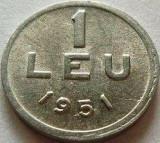 Moneda 1 Leu 1951, allu ROMÂNIA *cod 2722 UNC - cu bavura, Aluminiu
