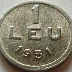 Moneda 1 Leu 1951, allu ROMÂNIA *cod 2722 UNC - cu bavura - Moneda Romania, Aluminiu