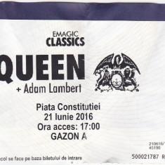 Pentru colectionari, bilet intrare concert Queen 21 Iunie 2016 Bucuresti