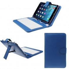 Husa Tableta 7 Inch Cu Tastatura Micro Usb Model X , Albastru , Tip Mapa  C105, Universal