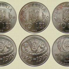 LOT/SET 3 MONEDE COMEMORATIVE 10 LEI 1995 si 1996, UNC - Moneda Romania, Nichel