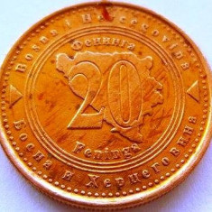 Moneda 20 Feninga - BOSNIA HERTEGOVINA, anul 1998 *cod 3042 xF, Europa
