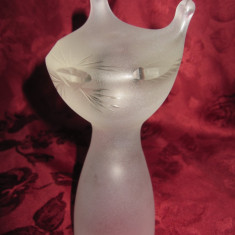 BIBELOU / STATUETA / FIGURINA DIN CRISTAL GEN LALIQUE - PISICA 17.5 CM - Figurina/statueta