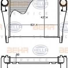 Intercooler, compresor IVECO EuroCargo 100 E 18 tector, 100 E 18 P tector, 100 E 18 FP tector - HELLA 8ML 376 758-131 - Intercooler turbo