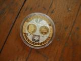 Moneda medalie Luxemburg, argint 999, placata cu aur