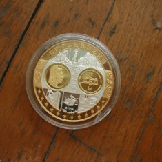 Moneda medalie Luxemburg, argint 999, placata cu aur, Europa