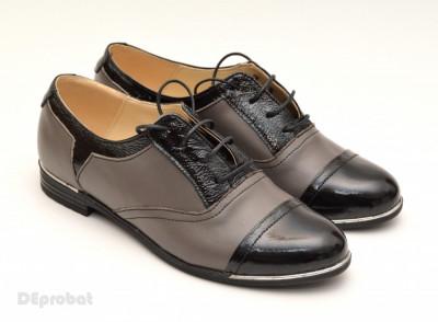 Pantofi dama piele naturala cu siret cod P50 - Model casual - office foto