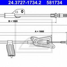 Cablu, frana de parcare NISSAN ALMERA TINO 1.8 - ATE 24.3727-1734.2