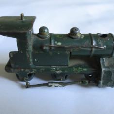 RARA! MINI LOCOMOTIVA METALICA DIN FIER/FONTA FABRICATA IN ANII 40-50, Locomotive