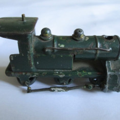 RARA! MINI LOCOMOTIVA METALICA DIN FIER/FONTA FABRICATA IN ANII 40-50 - Trenulet, Locomotive