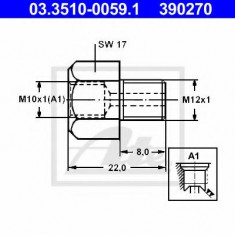 Adaptor, conducte frana OPEL REKORD E 1.7 - ATE 03.3510-0059.1 - Furtun frana