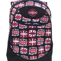 Ghiozdan gimnaziu London Flag, Negru