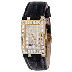 Ceas dama Esprit Collection placat cu pietre, Lux - elegant, Quartz, Placat cu aur, Piele, Analog