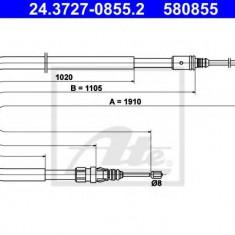 Cablu, frana de parcare PEUGEOT 207 1.6 - ATE 24.3727-0855.2