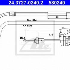 Cablu, frana de parcare MINI MINI CLUBMAN combi Cooper S - ATE 24.3727-0240.2