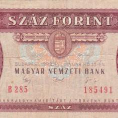 UNGARIA 100 forint 1992 VF!!! - bancnota europa