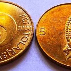 Moneda 5 Tolari - SLOVENIA, anul 2000 *cod 2056 UNC din Fasic!