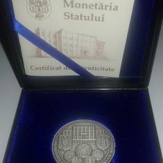 Medalie Monetaria Statului - 140 ani de la infiintare ( argint 0,800 - 21 grame)