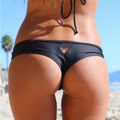 Bikini Mini Boxeri Chilotei Sexy Inima Costum Baie Chiloti Negru Brazilieni - Chiloti dama, Marime: S, M, L
