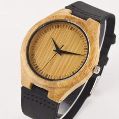 Ceas de Lemn Casual Wood Watch WD5 Curea Piele Naturala Bambus Japan CALITATE