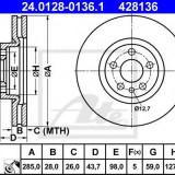 Disc frana PEUGEOT 807 2.0 HDi - ATE 24.0128-0136.1