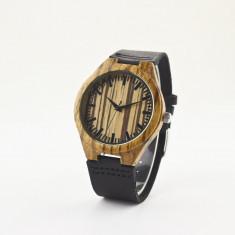Ceas de Lemn Casual Wood Watch WD39 Curea Piele Naturala Bambus Japan CALITATE