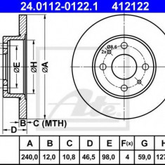 Disc frana FIAT PANDA 1100 - ATE 24.0112-0122.1 - Discuri frana REINZ