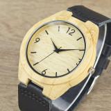 Ceas de Lemn Casual Wood Watch WD37 Curea Piele Naturala Bambus Japan CALITATE, Quartz, Inox