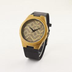Ceas de Lemn Casual Wood Watch WD1 Curea Piele Naturala Bambus Japan CALITATE