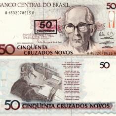 BRAZILIA 50 cruzeiros on 50 cruzados novos UNC!!! - bancnota america, An: 1990
