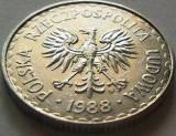 Moneda 1 Zlot - POLONIA, anul 1988 *cod 3052 Allu-a.UNC, Europa, Aluminiu