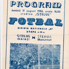 Program meci fotbal  OTELUL GALATI - STEAUA BUCURESTI 31.08.1986