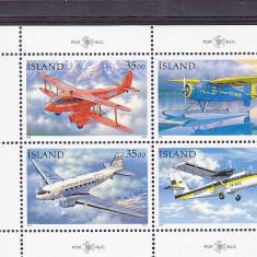 Transport aviatie, Islanda . - Timbre straine, Nestampilat