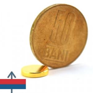 Magnet puternic neodim aurit disc 10x2 mm neodymium