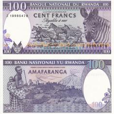 RWANDA 100 francs 1989 - serie 8 cifre UNC!!!