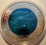 5.104 AUSTRIA AVIATIE 25 EURO 2007 UNC ARGINT NIOBIU BIMETAL cutie, certificat, Europa