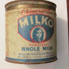 PVM - Cutie veche metal lapte praf MILKO New York SUA USA - Cutie Reclama