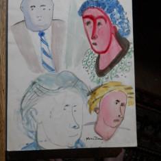 Nuni Dona-4 portrete(3 ale Cellei Delavrancea si 1 a lui St. Lupsacu), acuarela