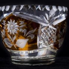 Bomboniera din cristal , h x di : 9,5 x 11,5 cm