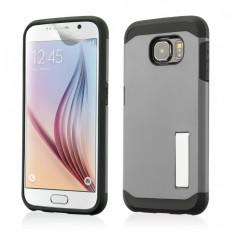 Husa Galaxy S6 Samsung SLIM ARMOR model STAND + Folie protectie display - Husa Telefon, Samsung Galaxy S6, Argintiu, Gel TPU, Carcasa