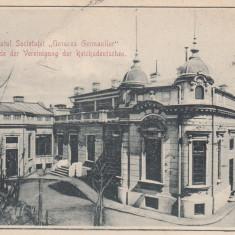 BUCURESTI, PALATUL SOCIETATEI ''UNIUNEA GERMANILOR'', CLASICA, CIRCULATA 1904 - Carte Postala Muntenia pana la 1904, Printata
