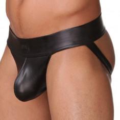 Suspensor / Jockstrap - aspect PIELE - nylon elastic negru cu aspect piele, M, S, XL