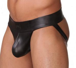 Suspensor / Jockstrap - aspect PIELE - nylon elastic negru cu aspect piele