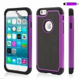 Husa iPhone 5 5s protectie colturi ARMOR + Folie protectie display cadou, iPhone 5/5S/SE, Mov, Gel TPU