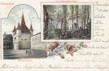 BRASOV , POARTA ECATERINEI SI AZILUL SASESC PENTRU COPII ORFANI ,  CIRCULAT 1900, Circulata, Printata