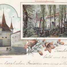 BRASOV, POARTA ECATERINEI SI AZILUL SASESC PENTRU COPII ORFANI, CIRCULAT 1900 - Carte Postala Transilvania pana la 1904, Circulata, Printata