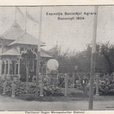 BUCURESTI, EXPOZITIA SOCIETATEI AGRARE 1904, PAVILIONUL REGIEI MONOP. STATULUI - Carte Postala Muntenia pana la 1904, Circulata, Printata