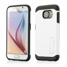 Husa Galaxy S6 Samsung SLIM ARMOR Alb model STAND + Folie protectie display - Husa Telefon, Samsung Galaxy S6, Gel TPU, Fara snur, Carcasa
